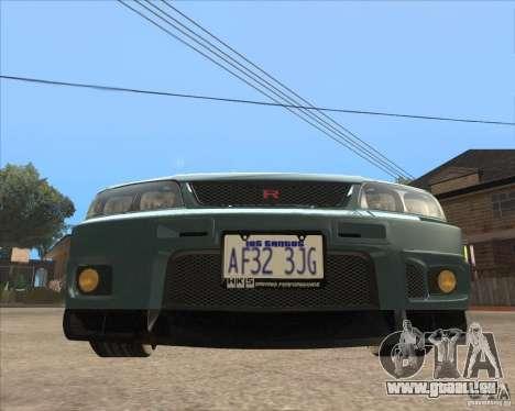 Nissan Skyline GT-R BNR33 pour GTA San Andreas laissé vue