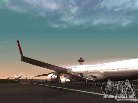 Boeing 747-446 Japan-Airlines pour GTA San Andreas vue intérieure