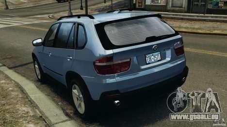 BMW X5 xDrive30i pour GTA 4 Vue arrière de la gauche