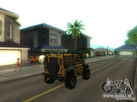 Land Rover Defender Off-Road pour GTA San Andreas sur la vue arrière gauche