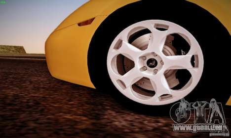 Lamborghini Gallardo pour GTA San Andreas vue arrière