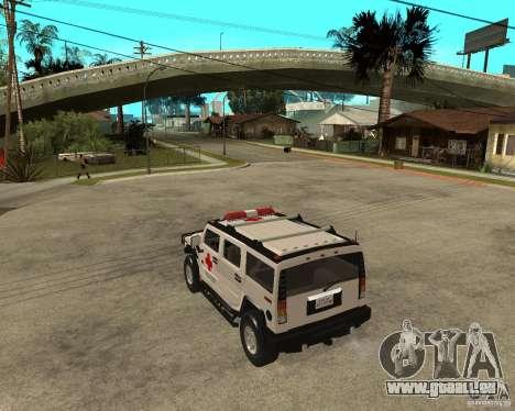 AMG H2 HUMMER - RED CROSS (ambulance) pour GTA San Andreas laissé vue