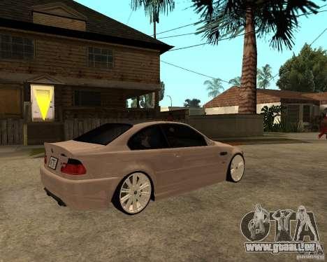 BMW M3 CSL E46 G-Power pour GTA San Andreas sur la vue arrière gauche