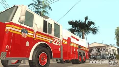 FDNY Seagrave Marauder II Tower Ladder für GTA San Andreas zurück linke Ansicht