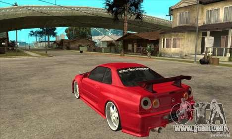 Nissan Skyline GTR-34 Carbon Tune für GTA San Andreas zurück linke Ansicht