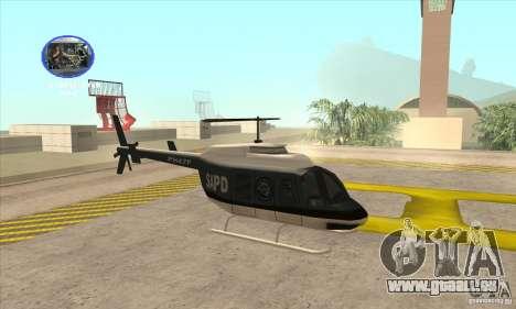 Police Maverick 2 pour GTA San Andreas sur la vue arrière gauche