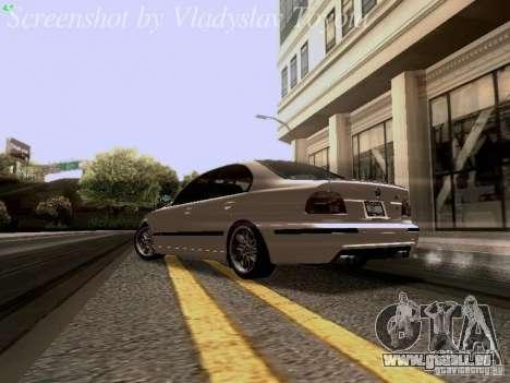 BMW E39 M5 2004 pour GTA San Andreas sur la vue arrière gauche