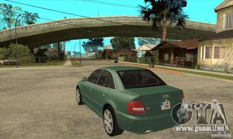 Audi S4 2000 pour GTA San Andreas sur la vue arrière gauche