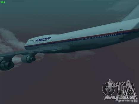 Boeing 747-400 Malaysia Airlines für GTA San Andreas Seitenansicht