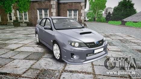 Subaru Impreza WRX 2011 für GTA 4 Rückansicht