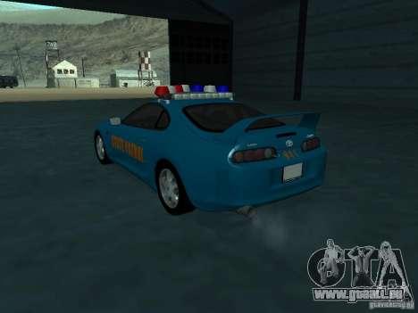 Toyota Supra California State Patrol pour GTA San Andreas sur la vue arrière gauche