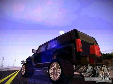 Hummer H3R pour GTA San Andreas sur la vue arrière gauche