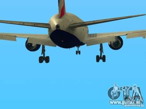 Boeing 767-300 British Airways pour GTA San Andreas vue de dessous