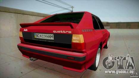 Audi Sport quattro 1983 pour GTA San Andreas sur la vue arrière gauche
