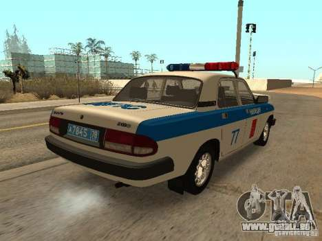 GAZ 3110 Polizei für GTA San Andreas zurück linke Ansicht