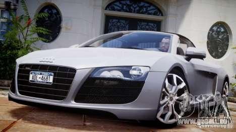 Audi R8 Spyder 5.2 FSI Quattro V4 [EPM] pour GTA 4 est une vue de dessous
