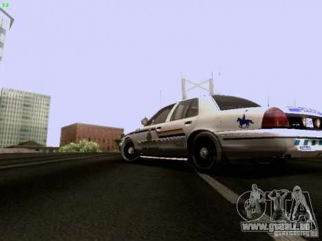 Ford Crown Victoria Canadian Mounted Police pour GTA San Andreas laissé vue