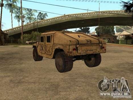 War Hummer H1 pour GTA San Andreas sur la vue arrière gauche