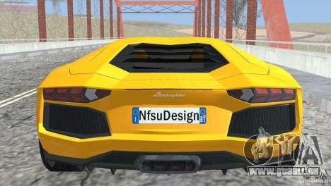 Lamborghini Aventador LP700-4 2012 pour GTA San Andreas vue intérieure