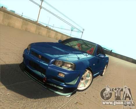 Nissan Skyline GT-R R34 M-Spec Nur pour GTA San Andreas vue de dessus