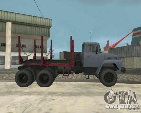 Transporteur de bois KrAZ-255 pour GTA San Andreas vue intérieure