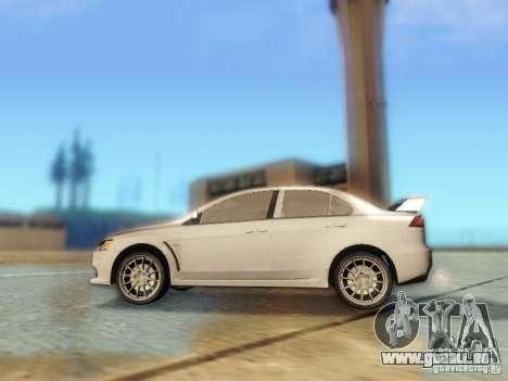 Mitsubishi Lancer Evolution X für GTA San Andreas linke Ansicht