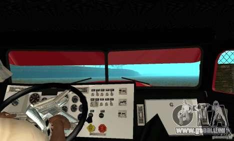 Peterbilt Coupe pour GTA San Andreas vue intérieure