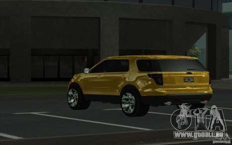 Ford Explorer Limited 2013 für GTA San Andreas zurück linke Ansicht
