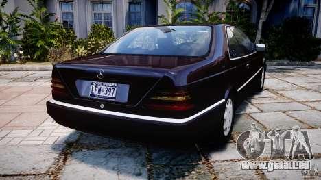 Mercedes-Benz 600SEC C140 1992 v1.0 pour GTA 4 Vue arrière de la gauche