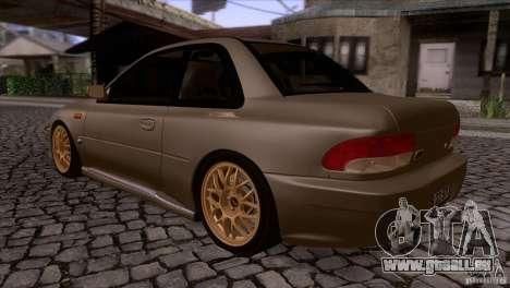 Subaru Impreza 22 pour GTA San Andreas sur la vue arrière gauche