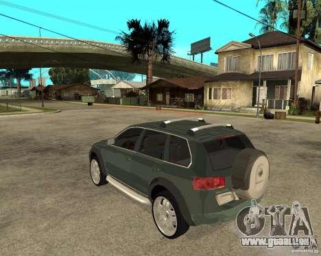 Volkswagen Touareg V10TDI 4x4 pour GTA San Andreas laissé vue