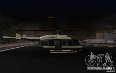 GTA IV Police Maverick für GTA San Andreas zurück linke Ansicht