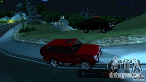 FBI Huntley 4x4 für GTA San Andreas zurück linke Ansicht