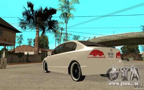 Honda Civic FD pour GTA San Andreas sur la vue arrière gauche