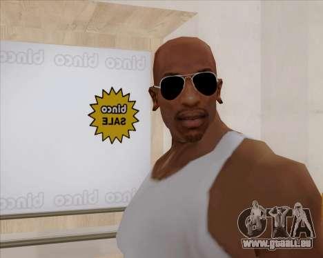 Lunettes de soleil aviateur noir pour GTA San Andreas troisième écran