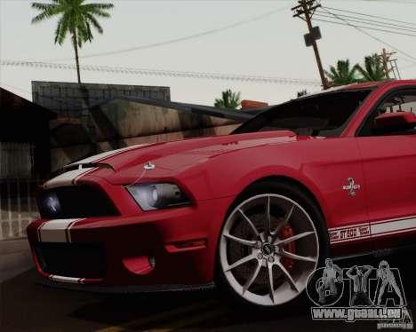 Ford Shelby GT500 Super Snake 2011 pour GTA San Andreas sur la vue arrière gauche