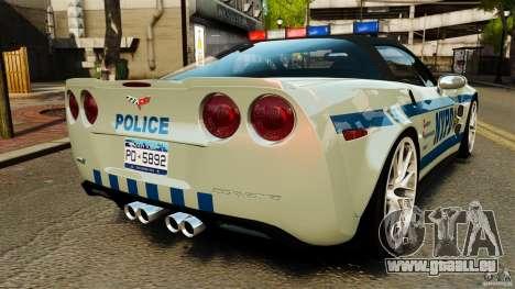 Chevrolet Corvette ZR1 Police pour GTA 4 Vue arrière de la gauche