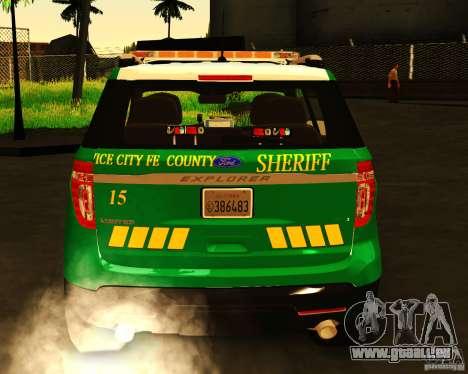 Ford Explorer 2011 VCPD Police für GTA San Andreas zurück linke Ansicht