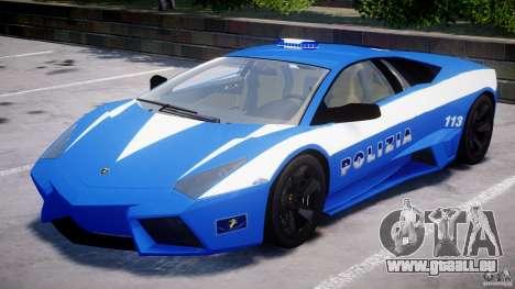 Lamborghini Reventon Polizia Italiana pour GTA 4 vue de dessus