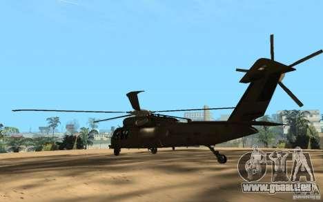 UH-60 Silent Hawk pour GTA San Andreas sur la vue arrière gauche