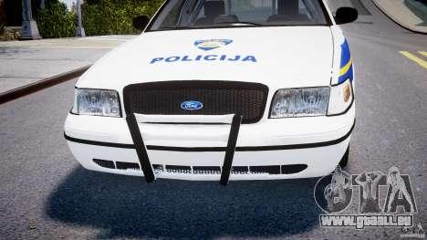 Ford Crown Victoria Croatian Police Unit pour GTA 4 est une vue de dessous