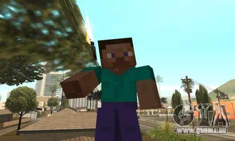 Steve de la peau de Minecraft jeu pour GTA San Andreas troisième écran