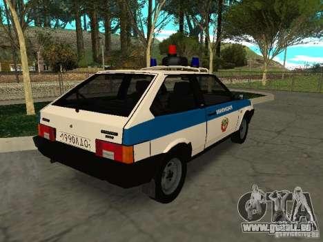 VAZ 2108 Police pour GTA San Andreas sur la vue arrière gauche