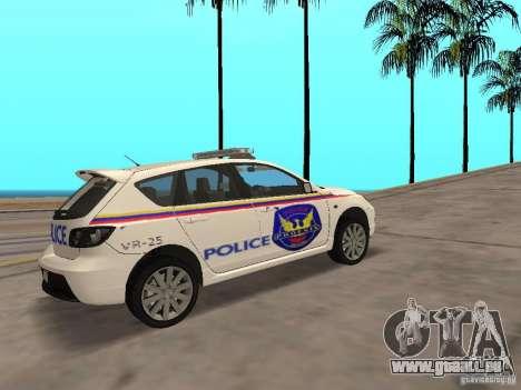 Mazda 3 Police für GTA San Andreas zurück linke Ansicht