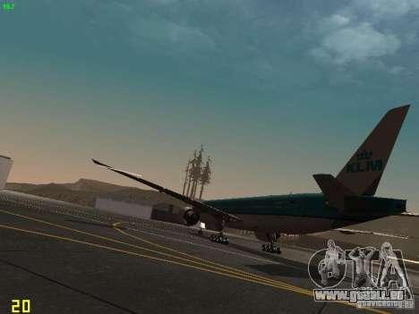 Boeing 777-200 KLM Royal Dutch Airlines pour GTA San Andreas sur la vue arrière gauche