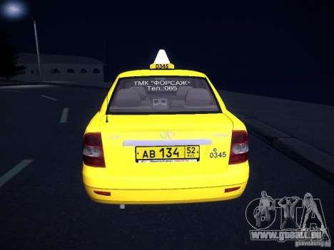 LADA Priora 2170 Taxi TMK Afterburner pour GTA San Andreas vue de côté