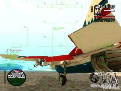MIG-29 OVT für GTA San Andreas Rückansicht