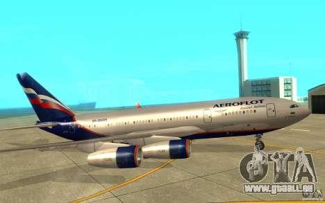 L'IL-96 300 Aeroflot dans de nouvelles couleurs pour GTA San Andreas sur la vue arrière gauche