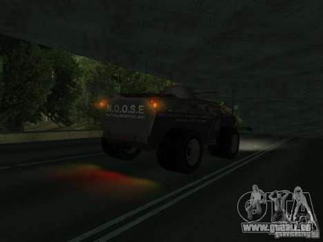 APC de GTA TBoGT FIV pour GTA San Andreas sur la vue arrière gauche
