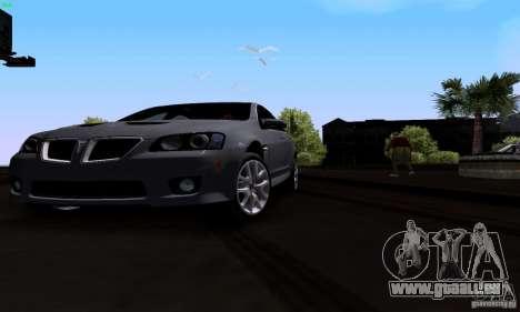 Pontiac G8 GXP pour GTA San Andreas vue intérieure